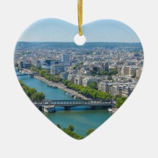 Bridge over the river Seine in Paris, France Ceramic Heart Decoration
