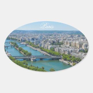 Bridge over the river Seine in Paris, France Oval Sticker