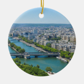 Bridge over the river Seine in Paris, France Round Ceramic Decoration