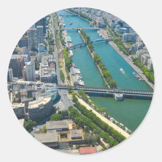 Bridge over the river Seine in Paris, France Round Sticker