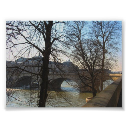 Bridge over the Seine River Poster