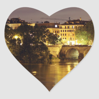 Bridge Over The Tiber River Heart Stickers