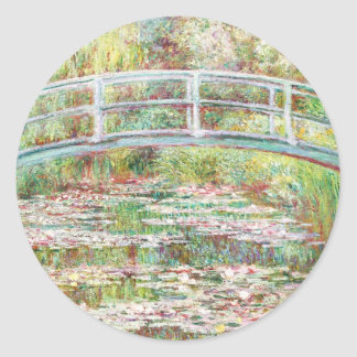 Bridge Over Water Lilies Pond - Claude Monet Round Sticker