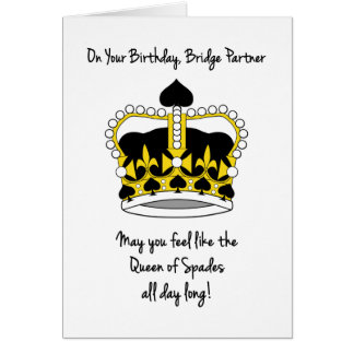 Bridge Partner Birthday_Queen of Spades Card
