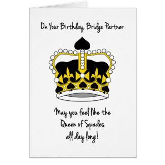 Bridge Partner Birthday_Queen of Spades Greeting Card