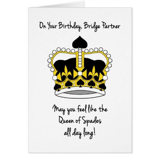 Bridge Partner Birthday_Queen of Spades Card