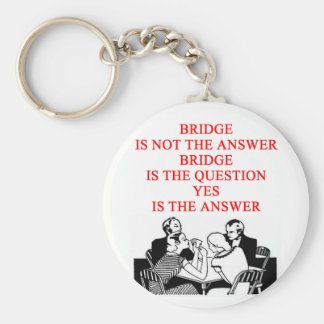 bridge player design basic round button key ring