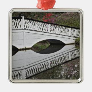 Bridge reflecting on pond, Magnolia Christmas Ornament