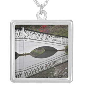 Bridge reflecting on pond, Magnolia Silver Plated Necklace
