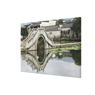 Bridge reflection, Hong Cun Village, Yi Canvas Print
