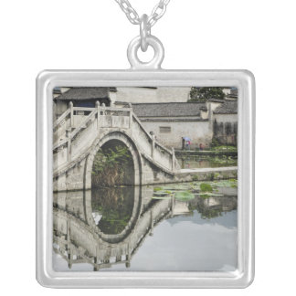 Bridge reflection, Hong Cun Village, Yi Silver Plated Necklace