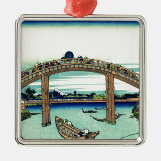 Bridge River Japan Shinto Boats Travel Landmark Silver-Colored Square Decoration