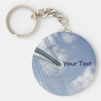 Bridge Spine and Cables Construction Art Keyring Basic Round Button Key Ring