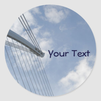 Bridge Spine and Cables Construction Art Round Sticker