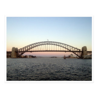 bridge sydney sunset postcard