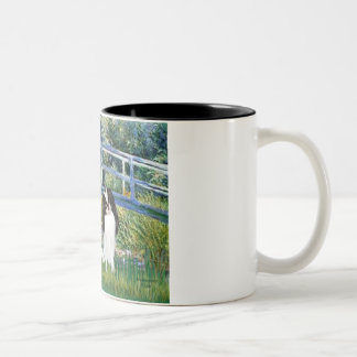 Bridge - Two Japanese Chins (2BW) Two-Tone Coffee Mug