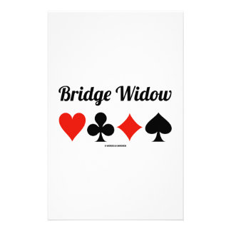 Bridge Widow (Four Card Suits) Customised Stationery