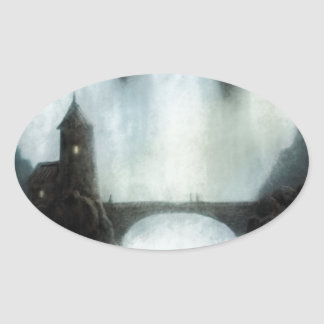 bridgefalls meeting fantasy landscape oval sticker