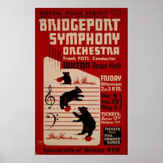 Bridgeport Symphony Orchestra Vintage Music Poster