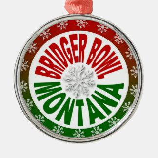 Bridger Bowl Montana red green holiday ornament