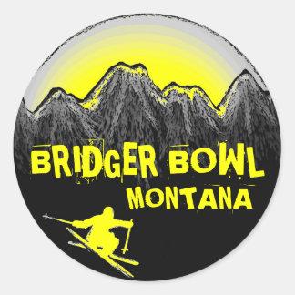 Bridger Bowl Montana yellow ski stickers