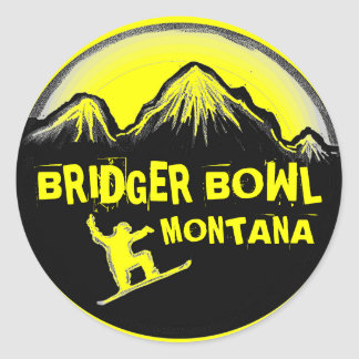 Bridger Bowl Montana yellow snowboard stickers