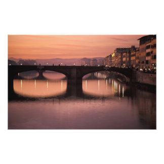 Bridges over the Arno River at sunset, 2 Photo Print