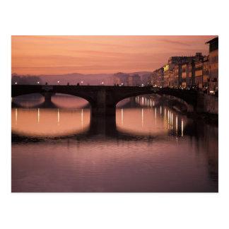 Bridges over the Arno River at sunset, 2 Postcard