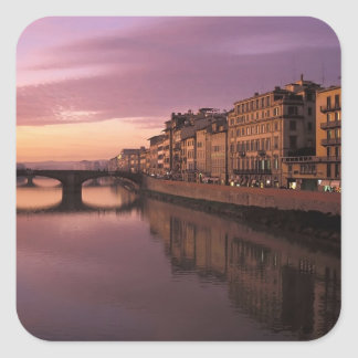 Bridges over the Arno River at sunset, Square Sticker
