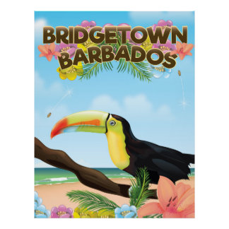 Bridgetown Barbados Toucan travel poster