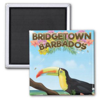 Bridgetown Barbados Toucan travel poster Magnet
