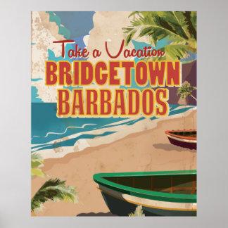 Bridgetown, Barbados Vintage Travel Poster. Poster
