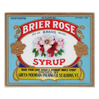 Brier Rose Vintage Syrup Label Poster