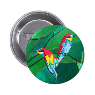 Brighly Colored European Bee-eaters 6 Cm Round Badge