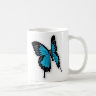 Brighly Hued Blue Butterfly Basic White Mug
