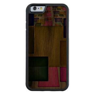 Bright 3-D Geometric Abstract Carved Walnut iPhone 6 Bumper Case