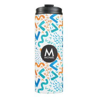 Bright Abstract Art Watercolor Pattern Monogram Thermal Tumbler