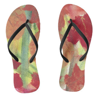Bright Abstract Autumn Leaves Fashion FlipFlops Flip Flops