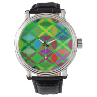 Bright Abstract Design Blue Red And Green Watch