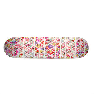 Bright Abstract Floral Triangles Pastel Pattern Skateboard