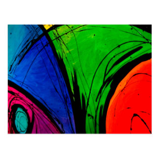 Bright Abstract Groovy Art Postcard