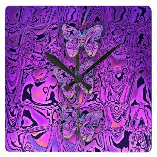 Bright Abstract Purple Butterflies Art Wallclock