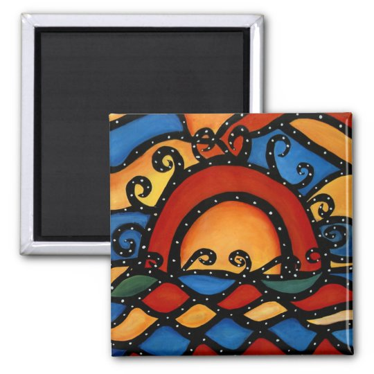 Bright Abstract Sunset Magnet
