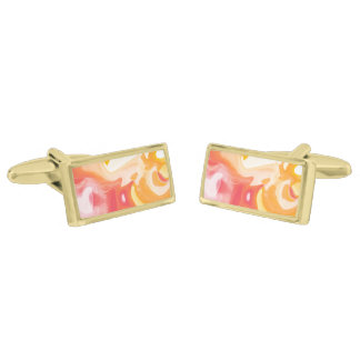 Bright abstract yellow orange fluid cufflinks gold finish cuff links