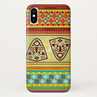 Bright African Mask Tribal Pattern iPhone X Case