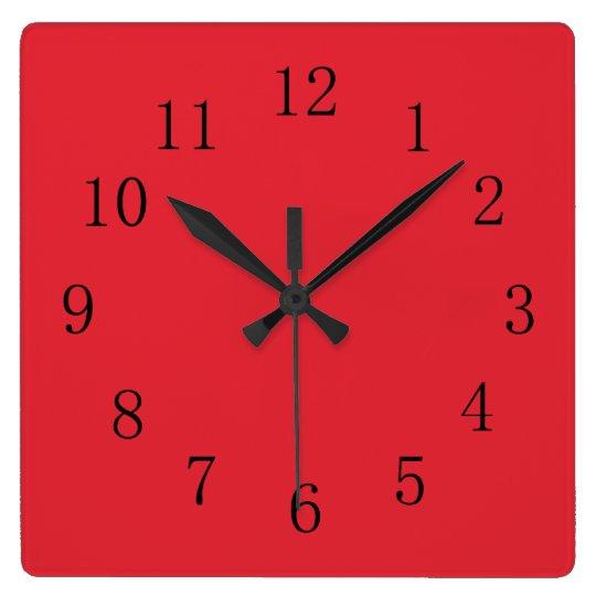 Bright Alizarin Red Square Wall Clock