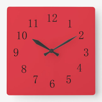 Bright Alizarin Red Wall Clocks