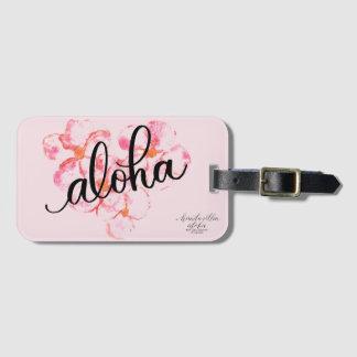 Bright Aloha Pink Plumeria Flower Luggage Tag