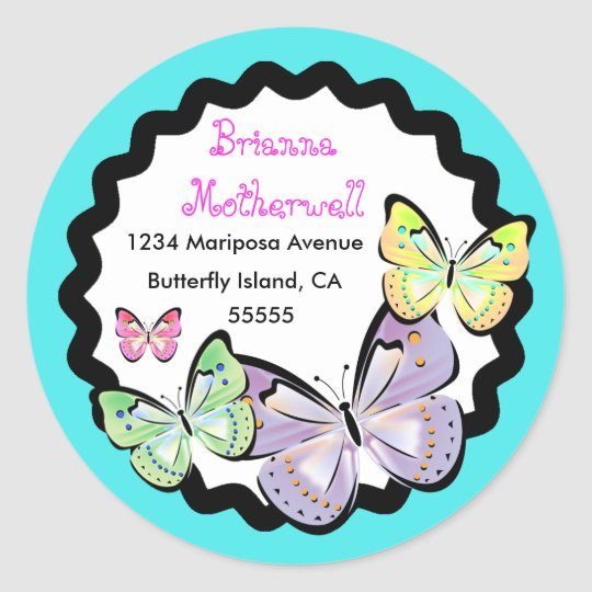 Bright and Beautiful Butterfly Address Label. Classic Round
