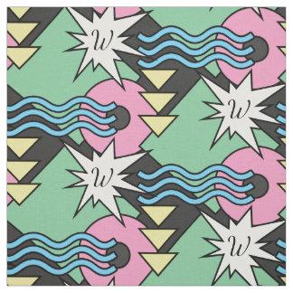 Bright And Bold Wacky Shapes Monogram Fabric